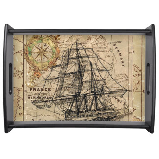 Vintage Map and Ship Serving Tray