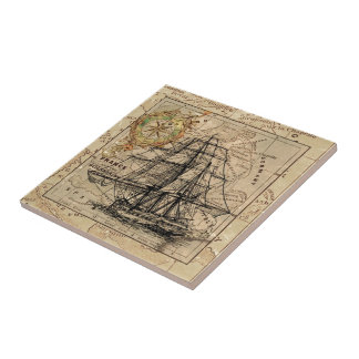 Vintage Map and Ship Tile