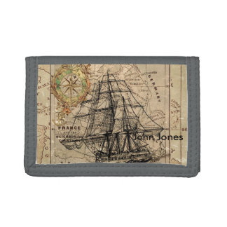 Vintage Map and Ship Trifold Wallets