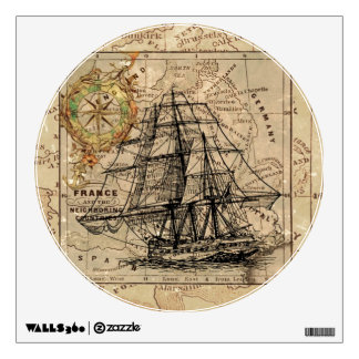 Vintage Map and Ship Wall Sticker