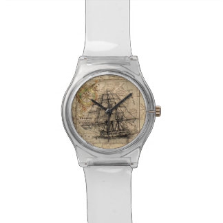 Vintage Map and Ship Watch