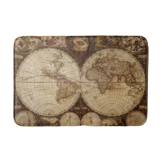 Vintage Map Bathroom Mat