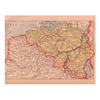 Vintage map, Begium, circa 1920 Postcard