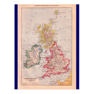 Vintage map, British Isles,  circa 1920 Postcard