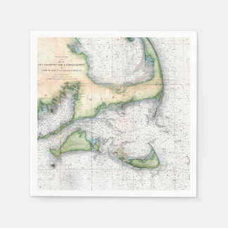 Vintage Map Cape Cod, Nantucket Martha's Vineyard Paper Napkin
