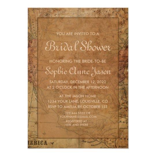 Vintage Map Destination Bridal Shower Invitation