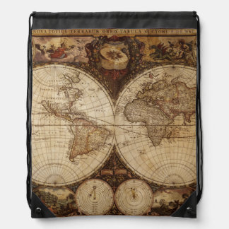 Vintage Map Drawstring Bag
