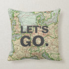 Vintage Map Europe Pillow, Custom Quote Throw Pillow