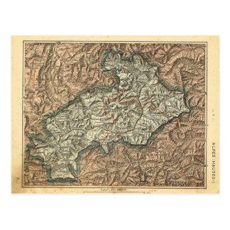 Vintage map France  Alpes Maritimes Postcard