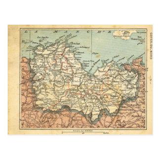 Vintage map France Cotes du Nord Postcard