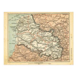 Vintage map France   Pas de Calais Postcard
