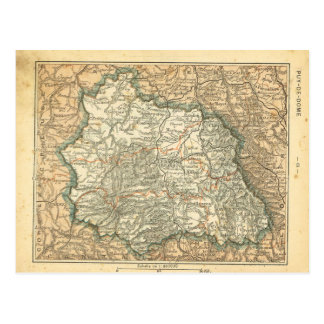 Vintage map France   Puy jes Domes Postcard