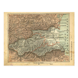 Vintage map France   Pyrenees Orientale Postcard