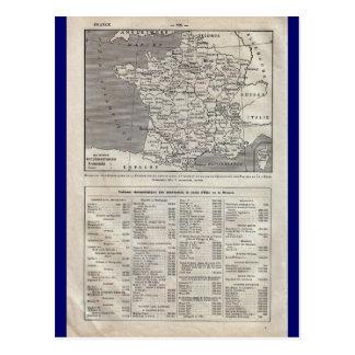 Vintage map, France, regional,  circa 1920 Postcard