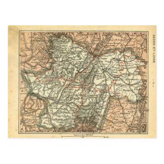 Vintage map France   Seine et Loire, Postcard