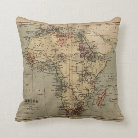 Vintage Map Geography 1846 Africa Throw Pillow