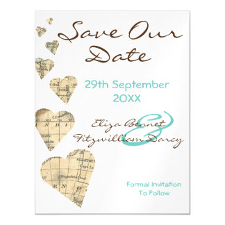 Vintage Map Hearts Save the Date Magnet