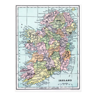 Vintage Map - Ireland Postcard