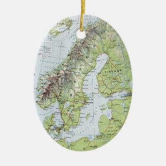 Vintage Map Norway Sweden Finland Netherlands Ceramic Ornament