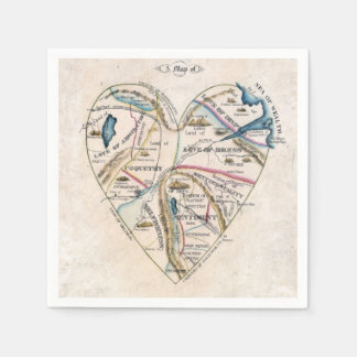 vintage map of a woman's heart disposable napkin