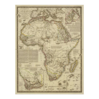 Vintage Map of Africa (1828) Poster