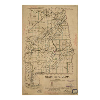Vintage Map of Alabama (1866) Poster
