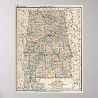 Vintage Map of Alabama (1891) Poster
