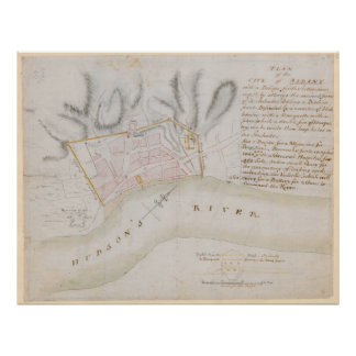 Vintage Map of Albany New York (1756) Poster
