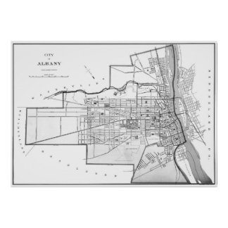 Vintage Map of Albany NY (1895) BW Poster