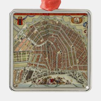 Vintage Map of Amsterdam (1688) Metal Ornament