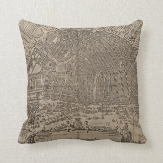 Vintage Map of Amsterdam (1721) Throw Pillow