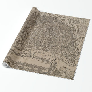 Vintage Map of Amsterdam (1721) Wrapping Paper