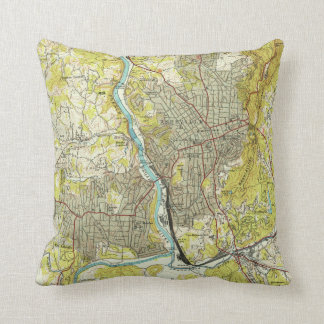 Vintage Map of Asheville North Carolina (1943) Throw Pillow