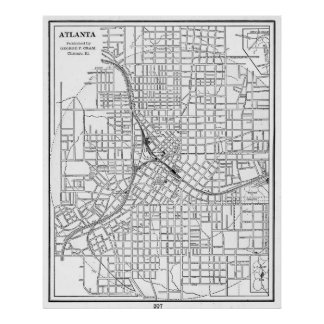 Vintage Map of Atlanta Georgia (1901) BW Poster