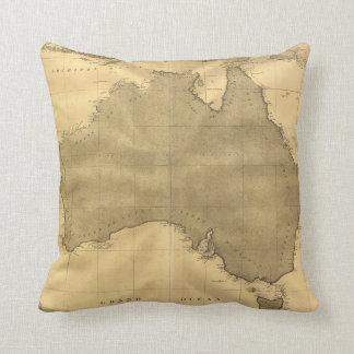 Vintage Map of Australia (1808) Throw Pillow