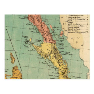 Vintage Map of Baja California (1899) Postcard