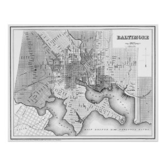 Vintage Map of Baltimore Maryland (1838) BW Poster