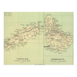 Vintage Map of Barbados and Tobago (1853) Postcard