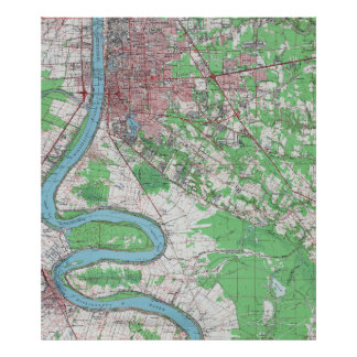Vintage Map of Baton Rouge Louisiana (1963) Poster