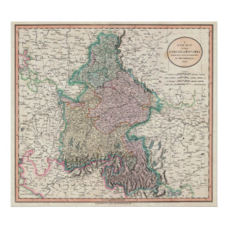 Vintage Map of Bavaria Germany (1799) Poster