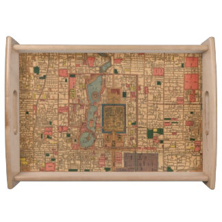 Vintage Map of Beijing China (1914) Serving Tray