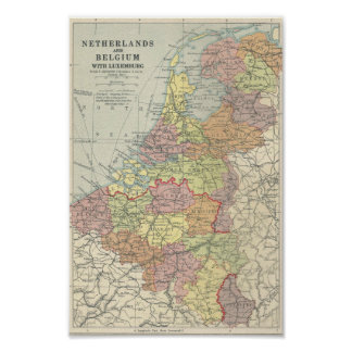 Vintage Map of Belgium, Luxembourg and Netherlands Poster