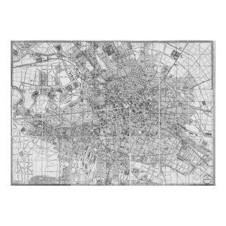 Vintage Map of Berlin Germany (1877) BW Poster