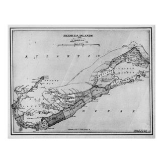 Vintage Map of Bermuda (1901) BW Poster