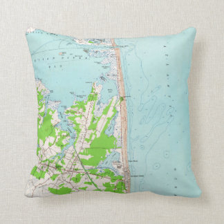 Vintage Map of Bethany Beach Delaware (1954) Throw Pillow