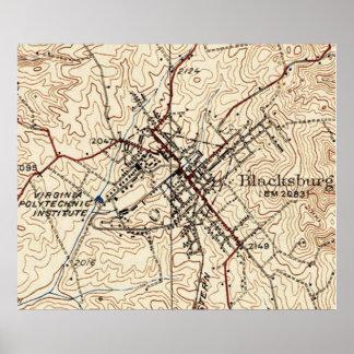 Vintage Map of Blacksburg Virginia (1932) Poster