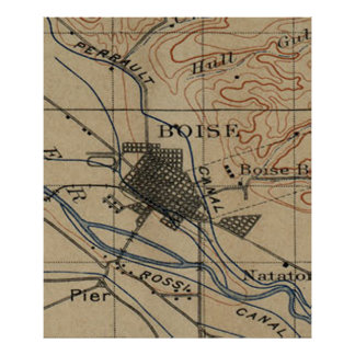 Vintage Map of Boise Idaho (1890) Poster