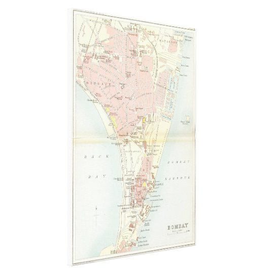 Vintage Map of Bombay India (1893) Canvas Print