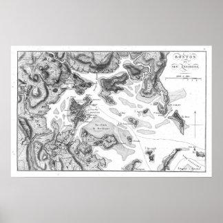 Vintage Map of Boston Harbor (1807) BW Poster