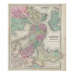Vintage Map of Boston Harbour (1857) Poster